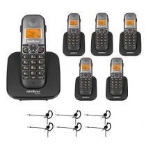 Kit Telefone sem fio TS 5120 + 5 Ramais TS 5121 + 6 Fones HC 10 - Intelbras