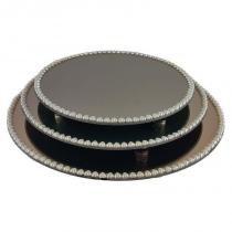 Kit travessa redonda espelhada bronze com pérolas de coração boleira  doces e festa 35 40 e 45 cm - veg - Veg