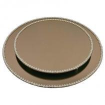 Kit travessa redonda espelhada bronze com pérolas de coração boleira  doces e festa 35 e 40 cm - veg - Veg