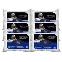 Kit Travesseiros 6 Pçs Pluma de Ganso 50x70cm Casa Dona 200 Fios Branco -