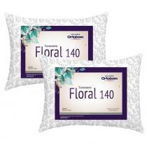 Kit Travesseiros Floral 140 Fios 02 Peças Estampado - Ortobom -