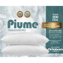 Kit Travesseiros Piume 02 Pçs c/ Toque de Pluma 100 Alg. 200 Fios - Ortobom -