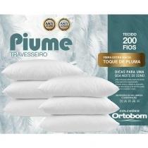 Kit Travesseiros Piume 06 Pçs c/ Toque de Pluma 100 Alg. 200 Fios - Ortobom -