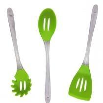 Kit Utensílios de Cozinha Silicone Espatula Pegador Massa Colher Verde (kit7-sili-14-15-16) - Braslu