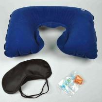 Kit Viagem com Travesseiro Inflável Protetor de Ouvido e Máscara Lemat - LEMAT