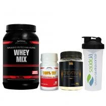 Kit Whey Mix Chocolate 900G + Creatina Golden + Multivitamínico Nitech + Coqueteleira Saúdejá - Nitech Nutrition