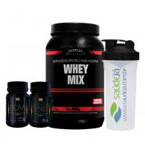Kit Whey Mix Chocolate Nitech + Picolinato De Cromo Golden + Bcaa Golden + Coqueteleira Saúdejá - Nitech nutrition
