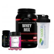 Kit Whey Mix Nitech Chocolate + Collagen Vit C Nitech + Bcaa Golden + Coqueteleira Transparente E Preta Saúdejá - Nitech nutrition