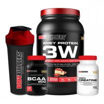 e46a1f3a2 Kit Whey Protein 3W 900g + BCAA 800 120 Table + Creatine 100g +  Coqueteleira -