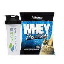 Kit Whey Protein - 500G - Baunilha - Pro Series - Atlhetica + Coqueteleira Transparente E Preto Saúdejá - Atlhetica