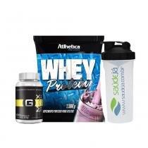 Kit Whey Protein - 500G - Morango - Atlhetica + Gmax Original Intlab + Coqueteleira Transparente E Preta Saúdejá - Atlhetica