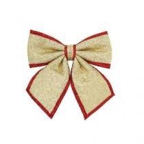 Laço natal lamú dourado/vermelho 23 x 26cm -