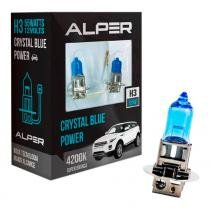 Lâmpada super branca alper crystal blue power h3 4200k par - Alper