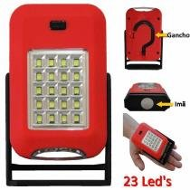 Lanterna 23 leds com imã e gancho a pilha vermelho cbrn01316 - Commerce brasil
