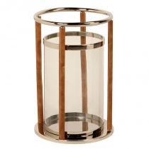 Lanterna decorativa de aço inox e vidro farol de alexandria média com detalhes de couro - Maria pia casa
