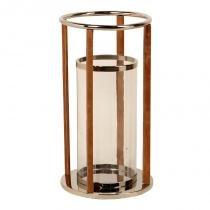Lanterna decorativa de aço inox farol de alexandria grande com detalhes de couro - Maria pia casa