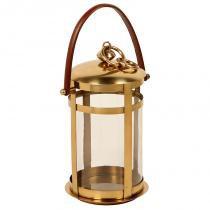 Lanterna decorativa de bronze e vidro pérsia pequena com alça de couro - Maria pia casa