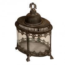 Lanterna Decorativa de Metal Envelhecido e Vidro Bihar - Maria Pia Casa