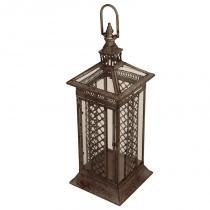 Lanterna Decorativa de Metal Envelhecido e Vidro Fujian - Maria Pia Casa