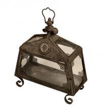 Lanterna Decorativa de Metal Envelhecido e Vidro Goa - Maria Pia Casa