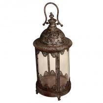 Lanterna Decorativa de Metal Envelhecido e Vidro Hainan - Maria Pia Casa