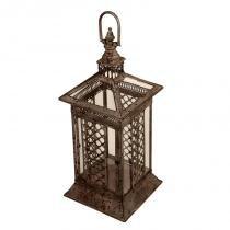 Lanterna Decorativa de Metal Envelhecido e Vidro Jiangsu - Maria Pia Casa