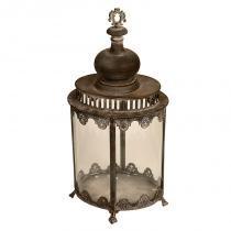 Lanterna Decorativa de Metal Envelhecido e Vidro Shanghai - Maria Pia Casa