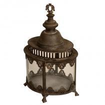 Lanterna Decorativa de Metal Envelhecido e Vidro Sichuan - Maria Pia Casa