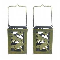 Lanterna Decorativa Porta Vela Enfeite Jardim Metal Lampiao Amarela 2 Unid - Braslu