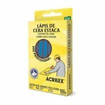 Lápis De Cera Estaca Azul Turquesa 501 Acrilex -