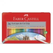 Lápis de cor 36 cores - lata grip - 121036LT - Faber-Castell -