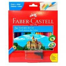 Lápis de Cor Sextavado Faber Castell - 24 cores + Apontador -
