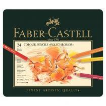 Lápis Polychromos Mina Permanente Faber-Castell  - Estojo Metálico com 24 cores - Ref 110024 - Faber castell