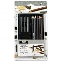 Lata pequena grafite, carvão e pastel  life drawing  art set royal  langnickel rset-art2501 -