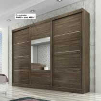 Leblon Slide Glass 3 portas - Chocolate/Rovere/Chocolate - Chocolate/Rovere/Chocolate - Panan