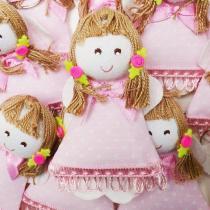 Lembranças Chaveiro 30 Unidades Feltro Rosê Boneca Vestido Poá - Eva de Abreu Feltros