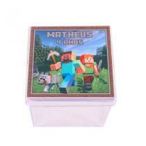 Lembrancinha Caixa Acrílica Personalizada Minecraft Aluá Festas