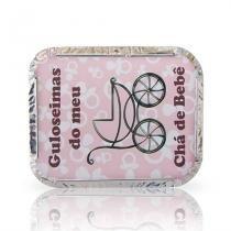 Lembrancinha Marmita Guloseimas do Meu Chá de Bebê Rosa e Marrom 10 unidades - Festabox