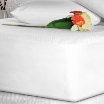 Lençol Impermeável Casal Branco Toque de Rosas - Fibrasca (45cm) - Fibrasca