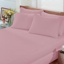 f23f2fed13 Lençol Solteiro com Elástico Malha Liso 1 Peça Rosa Quartz - Portallar -