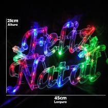 Letreiro luminoso decorativo 35 leds feliz natal 220v 1856 cbrn05048 - Commerce brasil