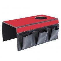 Lugar Americano para Sofá com 1 Espaço para Copo e 3 Bolsos - 40x30 cm - Laminado Vermelho - Evolux