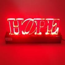 Luminaria De Mesa P/ Decoração Acrilico Palavra Hope Verm 110/220V - Ls acrilicos
