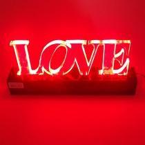 Luminaria de mesa p/ decoração acrilico palavra love verm 110/220v - Ls acrilicos