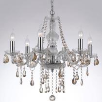 Lustre em Cristal Translúcido e Cristais Conhaque 90046TRCG - Markine Mobilier-Bivolt - Pier Iluminação