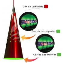 Lustre Pendente Cone de Alumínio Modelo Clown com 2 cores do LED - Verde - Bivolt - E-led Brasil