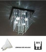 Lustre Plafon de Cristal Acrílico - Soquete GU10 - Lustres debby artes