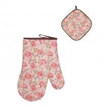 Luva de cozinha térmica e pegador de panela floral - Recanto da costura