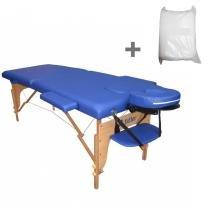 Maca Portatil Mesa de Massagem Fidler 2 Seções + 10 Lençois Descartaveis - Azul - Fidler