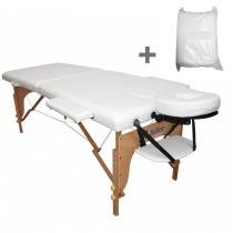 Maca Portatil Mesa de Massagem Fidler 2 Seções + 10 Lençois Descartaveis - Branca - Fidler